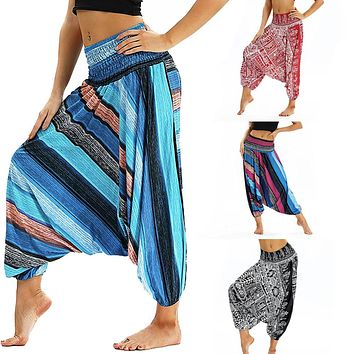 2018 Fashion Women Casual  Loose Trousers pants printed Baggy Boho Aladdin Harem Pants New 8.29