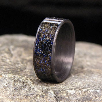 Blue Twilight Gibeon Meteorite Shavings Inlay Carbon Fiber Wedding Band or Ring
