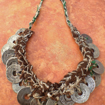 Rare Old Berber Necklace with Old Coins, South Marocco