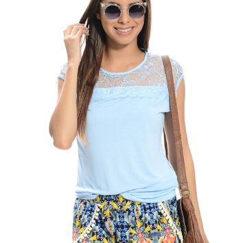 LightBlue Lace-Back Sheer Blouse | $8.99 | Cheap Trendy Blouses Chic Discount Fashion for Women | Mo