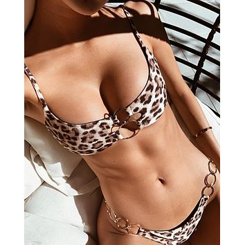 Beach Fashion Leopard Metal Ring Hollow Bikini Set Swimsuit Swimwear