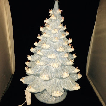 X-Large Ceramic Baby Blue with Snow Lighted Christmas Tree w/ 2 rings 2 Feet Tall