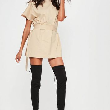 Missguided - Nude Tie Waist Side Split Tunic
