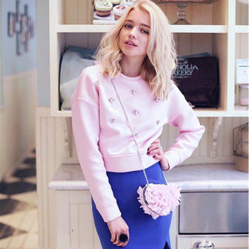 Pink Sweater with Metallic Embellishment