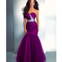Mac Duggal Prom 2013-Purple Chiffon Strapless Mermaid Gown With Embellishments - Unique Vintage - Cocktail, Pinup, Holiday & Prom Dresses.