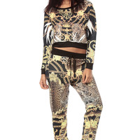 Royal Gold Leopard Jogger Pants