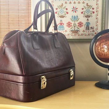 Large Carry On Bag, 1980s Boarding Bag, Retro Salesman Tote, Burgundy Overnight Bag