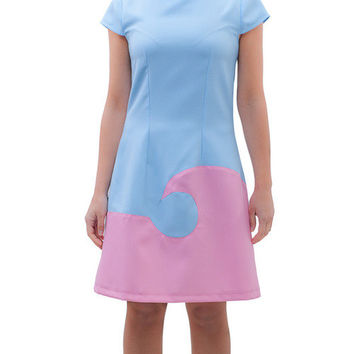 Blue pink A line cute tea dress Audrey dress retro mod twiggy french lovely parisian vintage look mad men 60s mod custom made