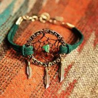 NEW Color Peacock Green Suede Dreamcatcher Bracelet by TurquoiseCrush on Zibbet