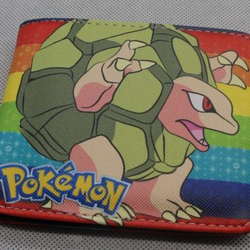 Anime  GO Squirtle Bifold Wallet Cosplay PU Leather Short Purse Photo Card Holder Studend Wallets ColorfulKawaii Pokemon go  AT_89_9