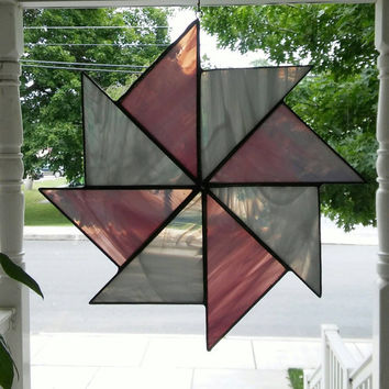 Stained Glass pinwheel suncatcher in pink and white, glass art, suncatchers, stained glass,quilt square, art & collectables, hip chick glass