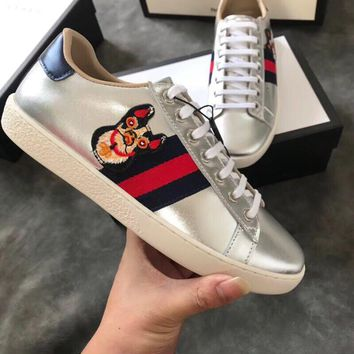 GUCCI Ace silver metallic leather sneaker