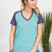 Easy Breezy Top | Teal & Navy
