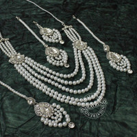 ANUREET 5 ROW PEARL NECKLACE EARRINGS TIKKA JHOOMER SET Silver Tone Cz Kundan