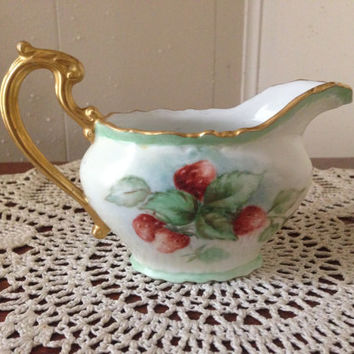 Limoges France (BH Limoges MCS) Gravy Boat with Gold Trim and Strawberry Pattern