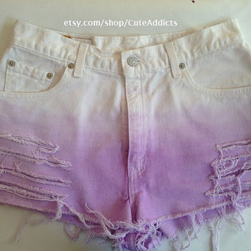 High Waisted Lilac Ombre Shorts by CuteAddicts on Etsy