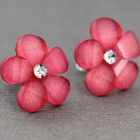 Flower Stud Earrings : Pink Flower Stud Earrings, Sterling Silver Plated Earring Posts, Simple, Fun, Rhinestone