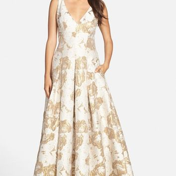 Women's Aidan Mattox Metallic Jacquard V-Neck Gown,