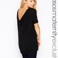 ASOS Maternity T-Shirt with Cowl Back in Baby Rib at asos.com