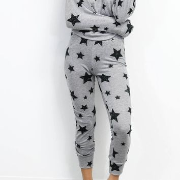 Good Girl Grey & Black Star Joggers