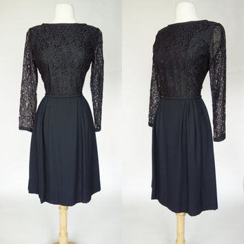 1950s black lace dress, long sleeve cocktail dress, sheer lace overlay, rayon dress, Small, Size 6