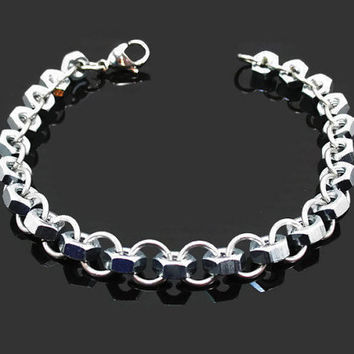 Hex nut bracelet. Men's bracelet, chain jewelry, industrial fashion