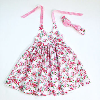 2T dress pink floral halter dress summer dress summer outfit matching girls headband girls halter dress boutique outfit toddler dress