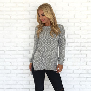 Heather Knit Sweater In Grey