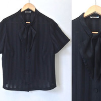Vintage Blouse - Preppy - 50s 60s - Semi Sheer - Tie Neck Blouse - Large