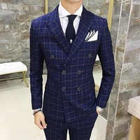 Men's Plaid Three Piece Double Breasted Suit