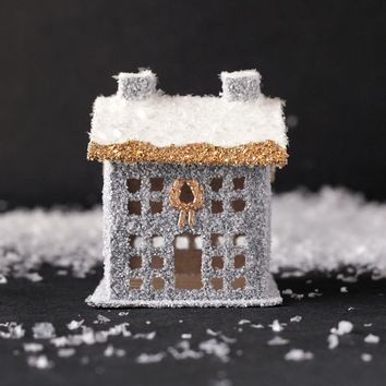 Winter Manor House - Stone Gray and Gold Vintage Style Christmas Decoration
