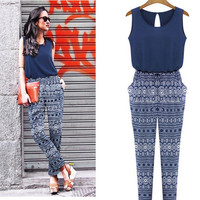Hot Sale Chiffon Patchwork Print Jumpsuit [5067548740]