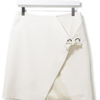 Twill Eyelet Mini Skirt by Boutique - Cream