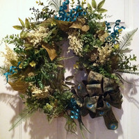 Peacock Wreath Grapevine Door Wreath Traditional Elegant Luxury Wreath Summer Wedding Wreath Peacock Ribbon Floral Arrangement