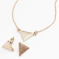 LC Lauren Conrad Gold Tone Triangle Necklace & Stud Earring Set