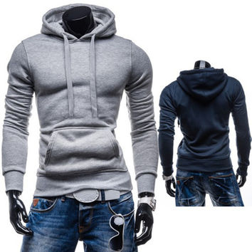 Simple Solid Color Men's Sport Pullover Fashion Hoodie