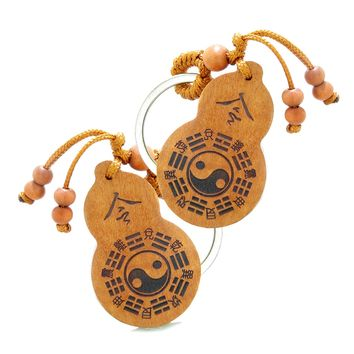 Amulet Yin Yang BaGua Eight Trigrams and Om Ohm Tibetan Lotus Powers Feng Shui Keychain Set Blessings