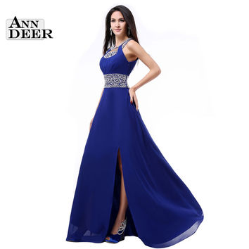 New Fashion A-Line O-Neck Side Split Sequin Elegant Long Formal Evening Dresses Vestido De Festa Longo S322