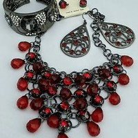 Red Glass Bead Bib Necklace , Earring, Bracelet Set   - Gift Set