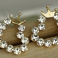 Diamond crown earrings