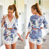 Blue Paisley Print V-Neck with Crochet Accent Cropped Top and Shorts