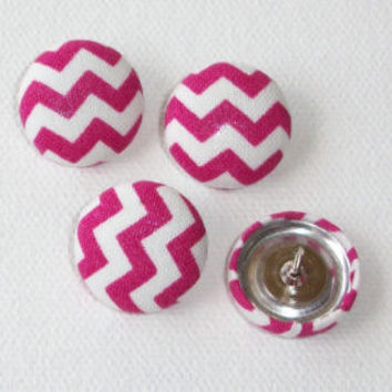 Thumb Tacks / Push Pins - Fabric Covered Buttons - Pink chevron zig zag   SET of 4  office accessories