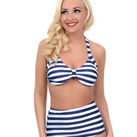 Vintage Style Pin Up Nautical Navy & White Striped Two Piece High Waisted Halter Swimsuit