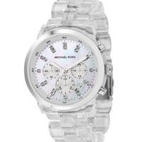 Michael Kors Quartz, Mother of Pearl Dial Acrylic Clear Band - Womens Watch MK5235