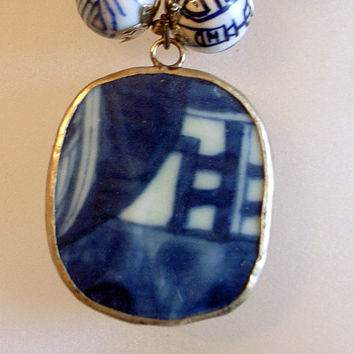 Blue Moon Necklace - Antique Pottery Necklace - OOAK - Handmade - Mystery Pendant
