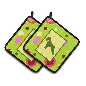 Lime Green Dots Schnauzer Pair of Pot Holders CK1054PTHD