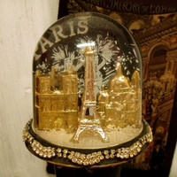 Vintage EIFFEL Tower snow globe Paris France landmarks monuments souvenir art snowdome made in France