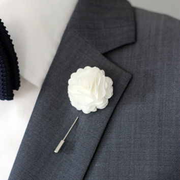 Elegant White Carnation Boutonniere Mens Lapel Flower Pin Wedding