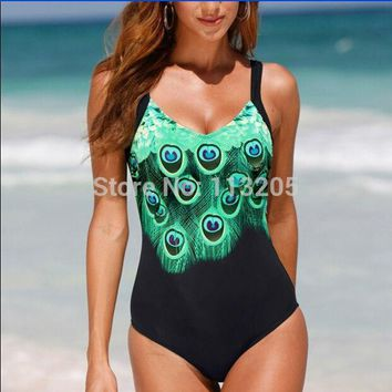 2017 Women Bodysuit Bathing Suit Animal Peacock Feather Pattern Print One Piece Swimwear Plus Size XL-5XL Swimsuit Monokini