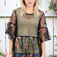 Sheerly Mesh Floral Embroidery Babydoll Peplum {Black}